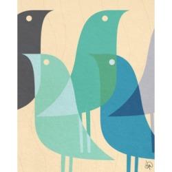 "Creative Gallery Retro Bird Caravan in Blue 24"" x 20"" Canvas Wall Art Print"
