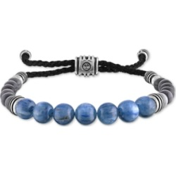 Esquire Men's Jewelry Kyanite & Gray Cats Eye Beaded Bolo Bracelet in Sterling Silver, Created For Macy's
