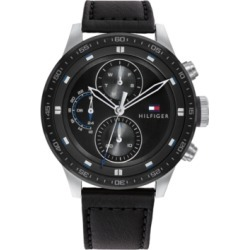 Tommy Hilfiger Men's Chronograph Black Leather Strap Watch 46mm