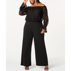 Adrianna Papell Plus Size Off-The-Shoulder Lace Jumpsuit found on Bargain Bro from Macy's Australia for USD $143.45