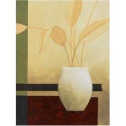 "Pablo Esteban White Vase with Small Leaves Canvas Art - 19.5"" x 26"""