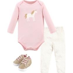 Hudson Baby Baby Girls and Boys Gold-Tone Unicorn Bodysuit, Pant and Shoe Set, Pack of 3