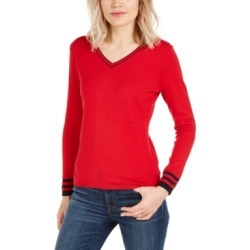 Tommy Hilfiger Cotton Tipped V-Neck Sweater found on MODAPINS from Macy's for USD $12.93