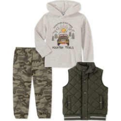 Kids Headquarters Little Boys 3-Pc. Green Quilted Vest, Cream Thermal Mountain Trail Hoodie & Camo Print Twill Jogger Pants Set found on Bargain Bro Philippines from Macys CA for $67.41