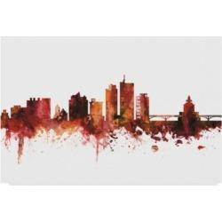 Michael Tompsett Cedar Rapids Iowa Skyline Red Canvas Art - 20