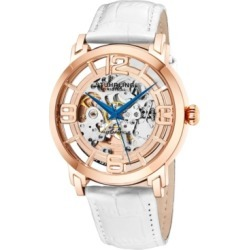 Stuhrling Original Stainless Steel Rose Tone Case on White Alligator Embossed Genuine Leather Strap, Rose Tone Dial, With Blue Accents found on Bargain Bro India from Macy's for $164.99