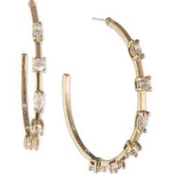 Givenchy Gold-Tone Crystal Medium Hoop Earrings, 1.2