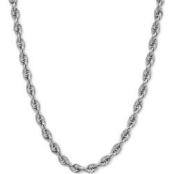Rope Chain Slider Necklace in 14k White Gold