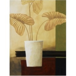 "Pablo Esteban White Vase with Large Leaves Canvas Art - 36.5"" x 48"""