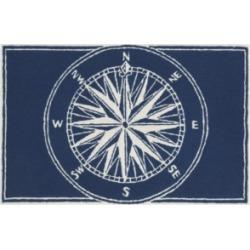 "Liora Manne Front Porch Indoor/Outdoor Compass Navy 2'6"" x 4' Area Rug"