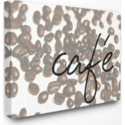 """Stupell Industries Cafe Coffee Beans in Cursive Canvas Wall Art, 24"""" x 30"""""""
