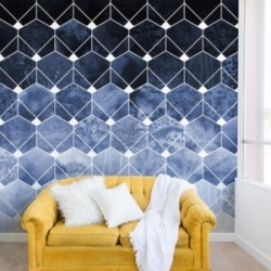 Deny Designs Elisabeth Fredriksson Blue Hexagons And Diamonds 12'x8' Wall Mural