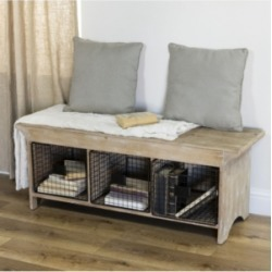 Vip Home International Wood Bench with Baskets