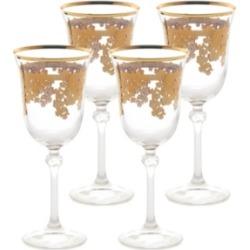 Lorren Home Trends Embellished 24K Gold Crystal Red Wine Goblets - Set of 4