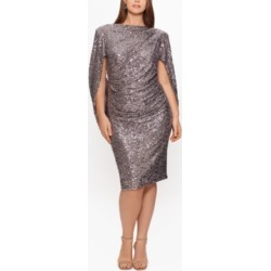 Betsy & Adam Plus Size Sequin Drape-Back Sheath Dress found on Bargain Bro from Macy's Australia for USD $223.59