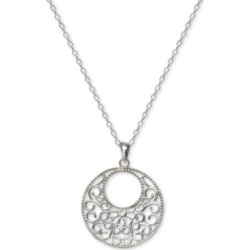 "Giani Bernini Filigree Circle 18"" Pendant Necklace in Sterling Silver, Created For Macy's"