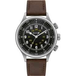 Bulova Men's Automatic Military Brown Leather Strap Watch 42mm