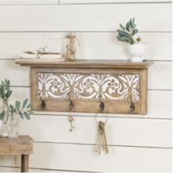 Vip Home International Antique Wood Shelf with Hooks