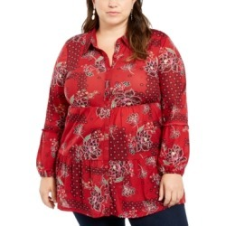 Style & Co Plus Size Floral Print Tiered Blouse, Created For Macy's