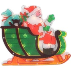 "Northlight 17"" Lighted Holographic Santa in Sleigh Christmas Window Silhouette Decoration"