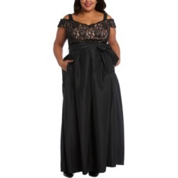 R & M Richards Plus Size Lace-Bodice Cold-Shoulder Gown found on Bargain Bro from Macy's Australia for USD $103.38
