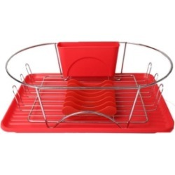 """MegaChef 17"""" Red and Silver Dish Rack with Detachable Utensil holder and 6 Attachable Plate Positioner"""