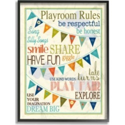 """Stupell Industries Home Decor Playroom Rules with Pennants In Blue Framed Giclee Art, 16"""" x 20"""""""
