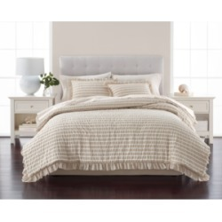 Martha Stewart Collection Seersucker Stripe Oat 8-Pc. California King Comforter Set, Created for Macy's Bedding
