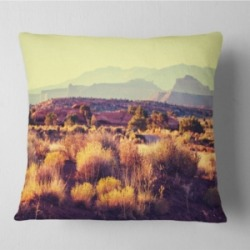 "Designart Prairie with Layers of Mountains Landscape Printed Throw Pillow - 26"" x 26"""
