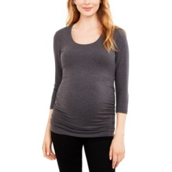Luxe Side Ruched 3/4 Sleeve Maternity T Shirt found on Bargain Bro India from Macy's for $45.00