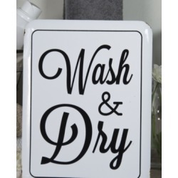 """Vip Home International Metal """"Wash and Dry"""" Sign"""