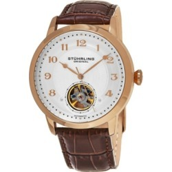 Stuhrling Original Men's Automatic Rose Gold Case, Open Heart Brown Leather Strap Watch found on Bargain Bro from Macys CA for USD $148.75