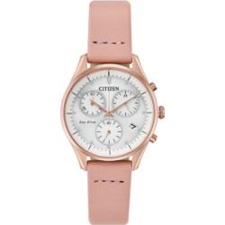 Citizen Eco-Drive Women's Chandler Blush Leather Strap Watch 32mm