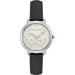 Bcbgmaxazria Ladies Black Leather Strap with Floral Dial and Silver Case, 34mm found on Bargain Bro Philippines from Macy's Australia for $79.83