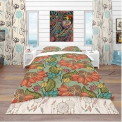 Designart 'Colorful Floral Pattern' Bohemian and Eclectic Duvet Cover Set - Queen Bedding found on Bargain Bro India from Macy's for $177.99