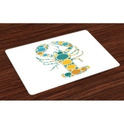 Ambesonne Lobster Place Mats, Set of 4