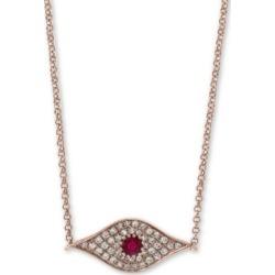 Effy Certified Ruby (1/6 ct. t.w.) & Diamond (1/8 ct. t.w.) Evil Eye Pendant Necklace in 14k Rose Gold, 14