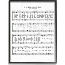 """Stupell Industries It is Well With My Soul Vintage-Inspired Sheet Music Framed Giclee Art, 11"""" x 14"""""""