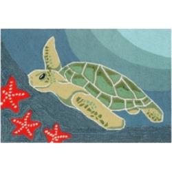 "Liora Manne Front Porch Indoor/Outdoor Sea Turtle Ocean 2'6"" x 4' Area Rug"