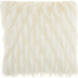 Inspire Me! Home Decor Faux Fur Feathers Ivory Throw Pillow