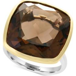 Effy Smoky Quartz (20-1/5 ct. t.w.) Ring in Sterling Silver & 18k Gold