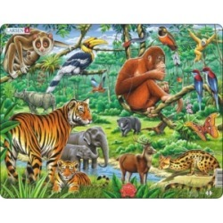 Larsen Puzzles Jungle Educational Jigsaw Puzzle 20 Piece Tray Frame Style Puzzle