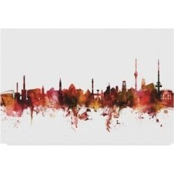 """Michael Tompsett Stuttgart Germany Skyline Red Canvas Art - 15"""" x 20"""""""