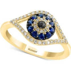 Effy Sapphire (1/4 ct. t.w.) and Diamond (1/6 ct. t.w.) Evil Eye Ring in 14k White or Yellow Gold found on Bargain Bro India from Macy's for $1500.00