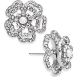Inc Silver-Tone Imitation Pearl & Crystal 3D Flower Stud Earrings, Created for Macy's found on Bargain Bro Philippines from Macy's for $22.12
