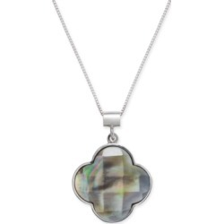 """Mother of Pearl Clover 18"""" Pendant Necklace in Sterling Silver"""