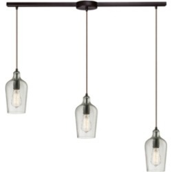 Hammered Glass Collection 3 Light Pendant in Oil Rubbed Bronze