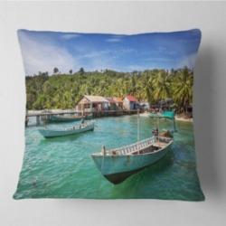 "Designart Fishing Boats in Kep Cambodia Seashore Throw Pillow - 26"" x 26"""
