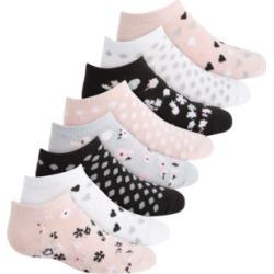 Planet Sox Toddler, Little & Big Girls 8-Pack Floral No-Show Socks