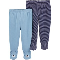 Carter's Baby Boys 2-Pair Footed Cotton Pants